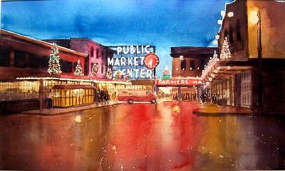 Cityscape Painting - Seattle Market by Charles Falk Jr