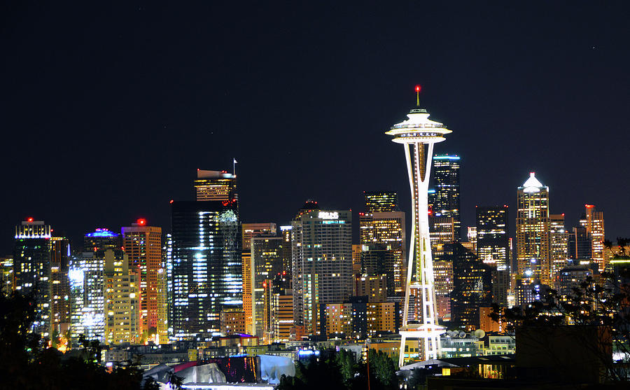 Seattle Photograph - Seattle Night Sky by Brian OKelly