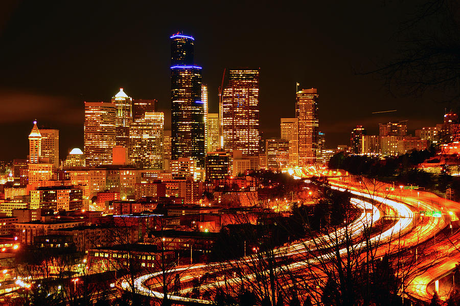 Seattle Photograph - Seattle Night Traffic by Brian OKelly