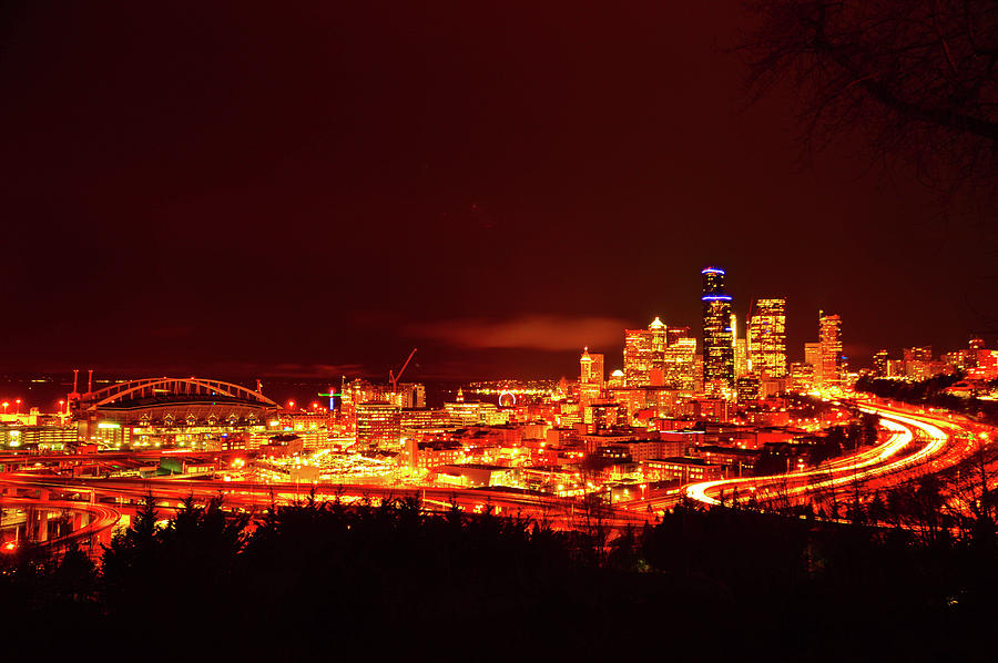 Seattle Photograph - Seattle Night Traffic Too by Brian OKelly