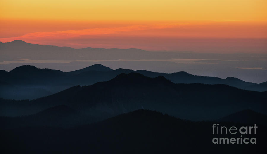 Rainier Photograph - Seattle Puget Sound And The Olympics Sunset Layers Landscape by Mike Reid