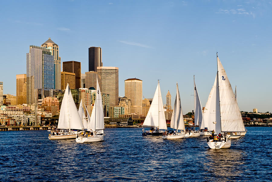 Seattle Photograph - Seattle Sailboats by Tom Dowd