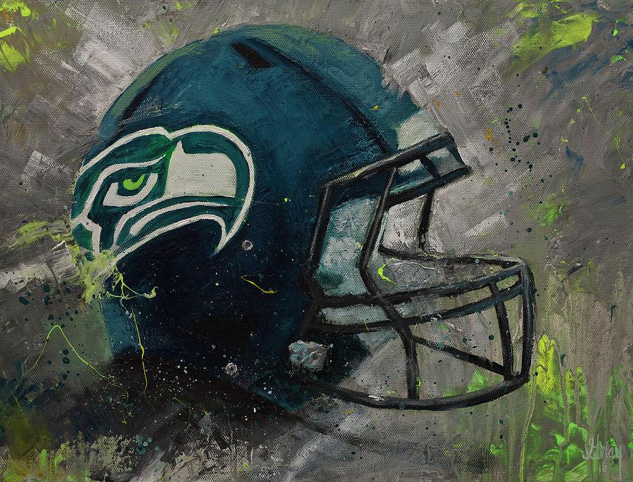 Seattle Seahawks Football Helmet Wall Art Painting by Gray Artus