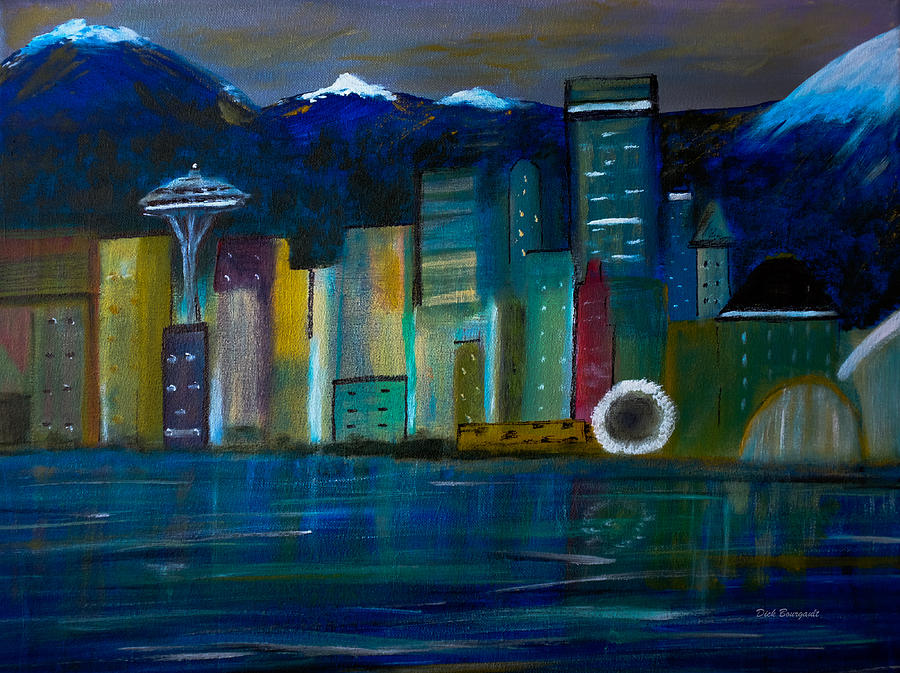 Seattle Painting - Seattle Skyiline by Dick Bourgault