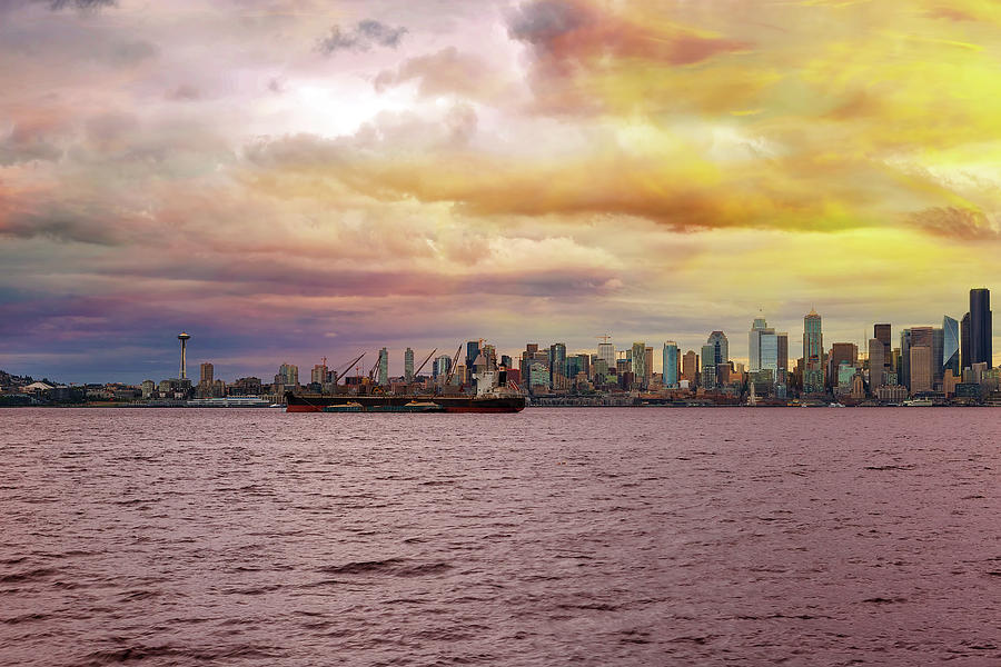 Seattle Photograph - Seattle Skyline along Elliott Bay by David Gn