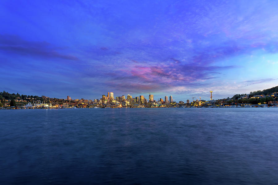 Seattle Photograph - Seattle Skyline along Union Lake by David Gn
