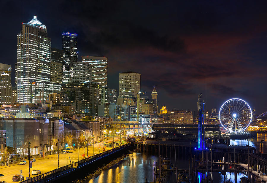 Seattle Photograph - Seattle Skyline By The Pier by David Gn