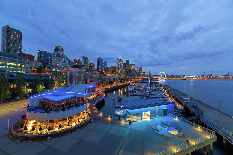 Seattle Photograph - Seattle Skyline From The Waterfront At Blue Hour by David Gn