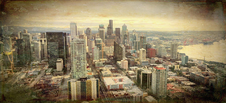 Seattle Skyline Grunge View  by Cathy Anderson