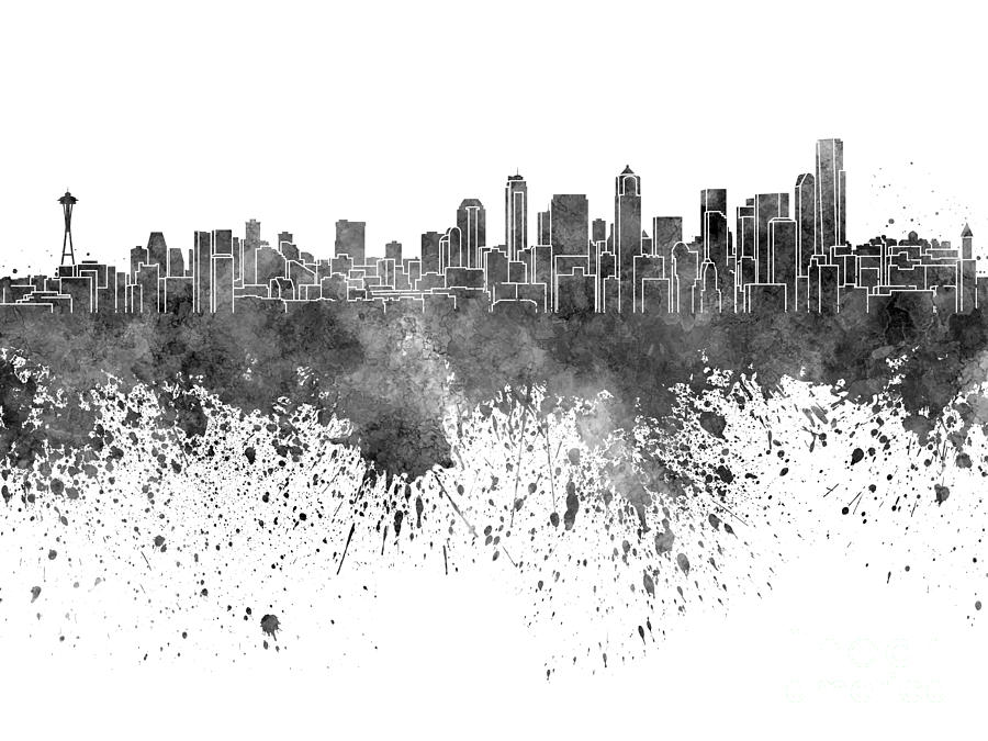 Seattle Skyline In Black Watercolor On White Background