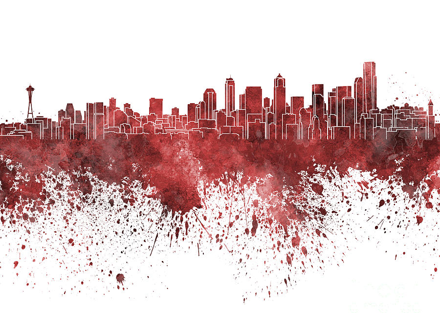 Seattle Skyline In Red Watercolor On White Background