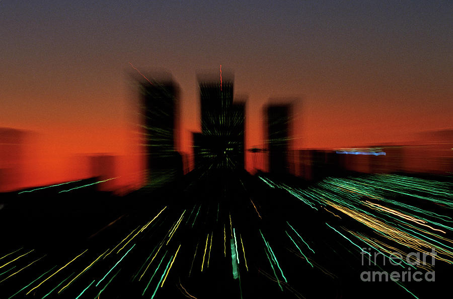 Special Effects Photograph - Seattle Skyline Motion by Jim Corwin