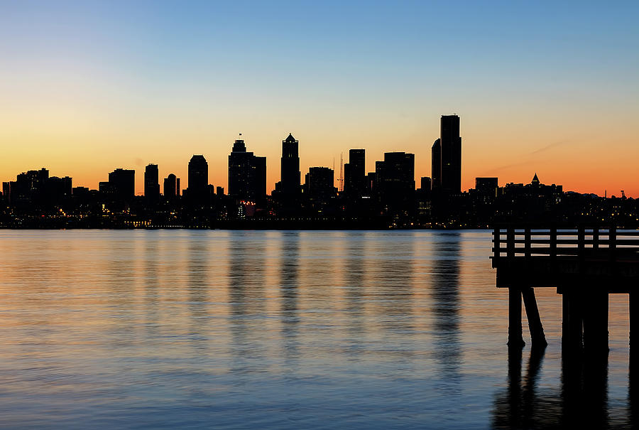 Seattle Photograph - Seattle Skyline Silhouette at Sunrise from the Pier by David Gn