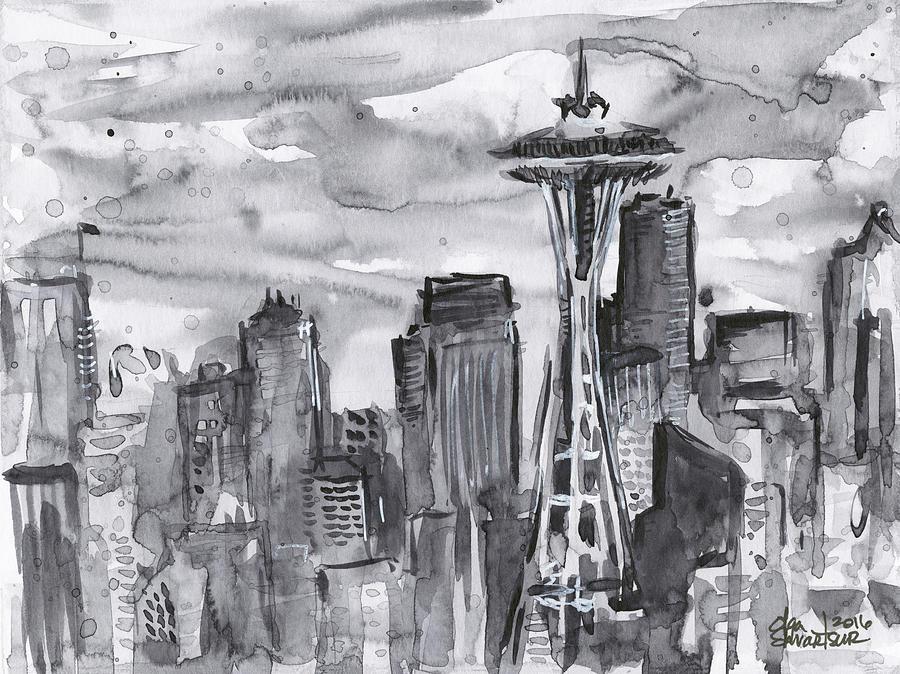 Seattle Painting - Seattle Skyline Space Needle by Olga Shvartsur