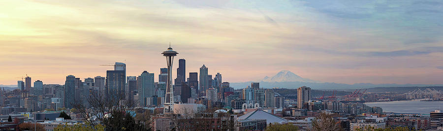 Seattle Photograph - Seattle Skyline with Mount Rainier during Sunrise Panorama by David Gn
