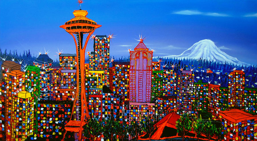 Seattle Space Needle 5 Painting by Dunbars Modern Art