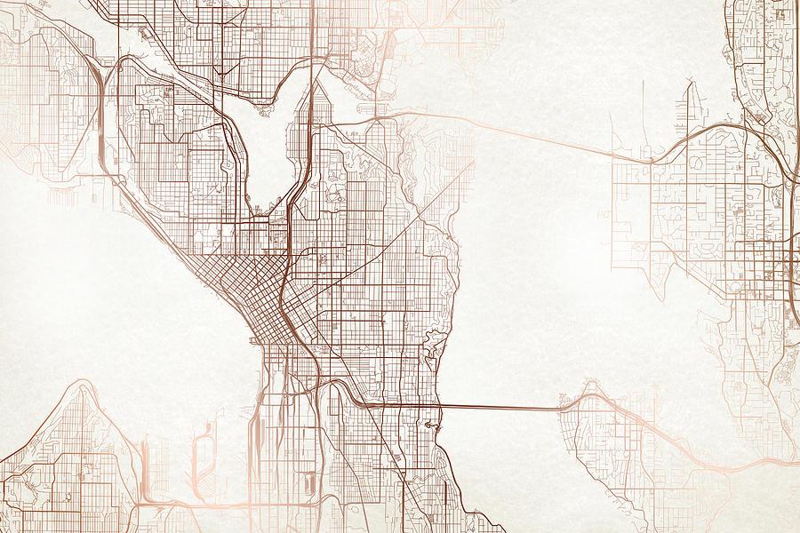 Seattle Street Map Colorful Copper Modern Minimalist Digital Art By