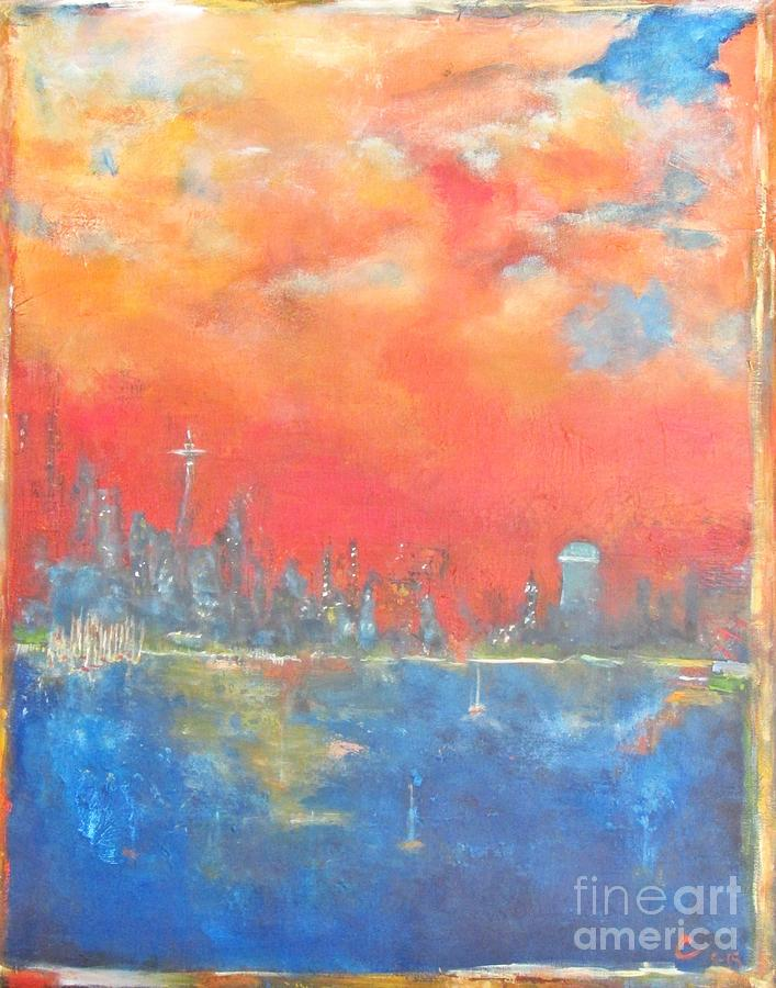 Seascape Painting - Seattle Sunset by Chaline Ouellet
