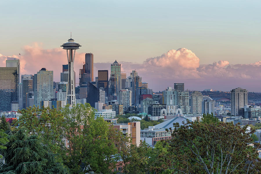 Seattle Photograph - Seattle Washington City Skyline at Sunset by David Gn