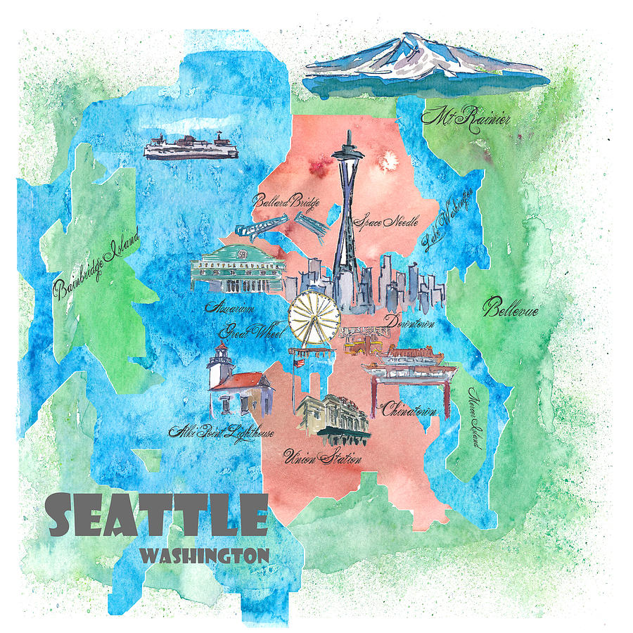 Seattle Washington Map Tourist.Seattle Washington Map Travel Poster Overview Best Of Typical