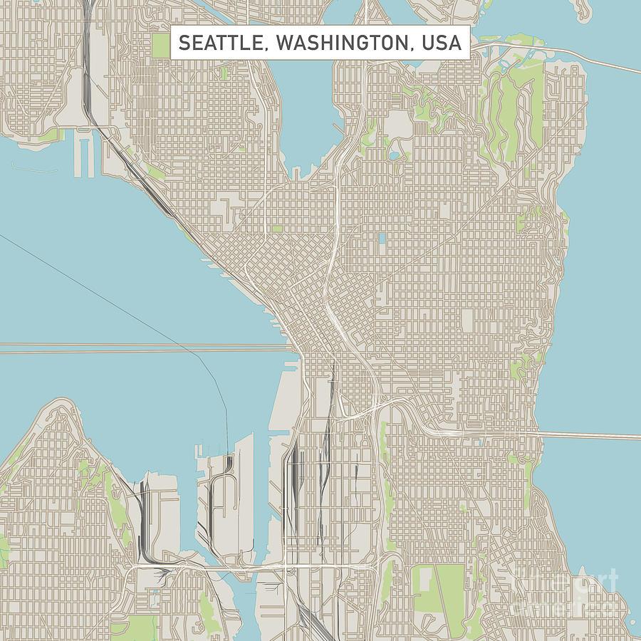 Seattle Washington Us City Street Map