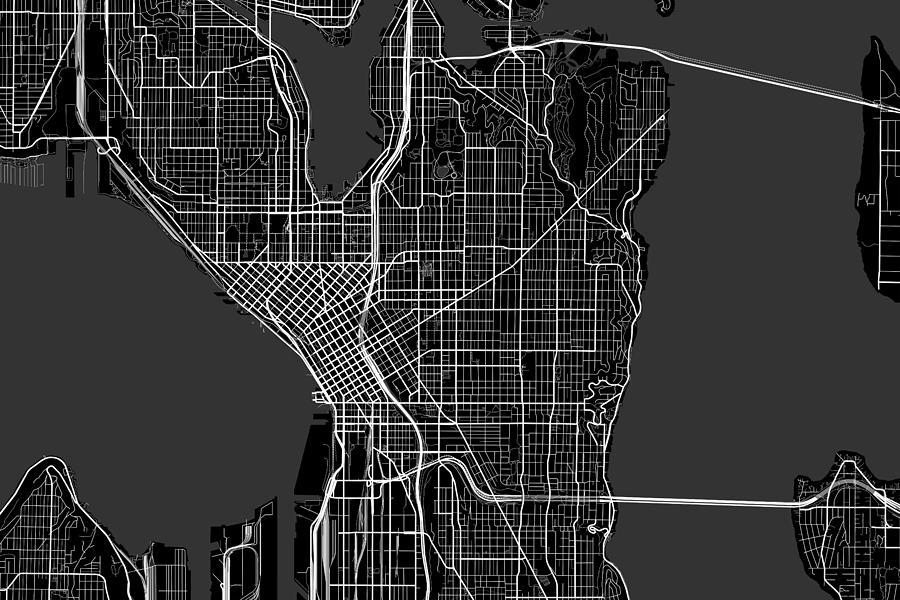 Seattle Washington Usa Dark Map Digital Art by Jurq Studio