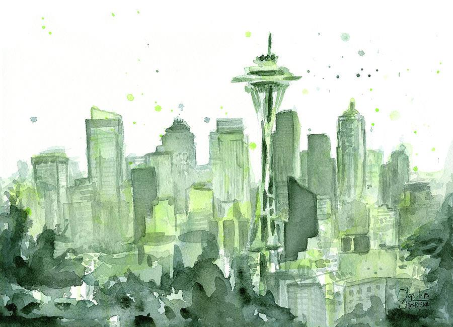 Seattle Painting - Seattle Watercolor by Olga Shvartsur