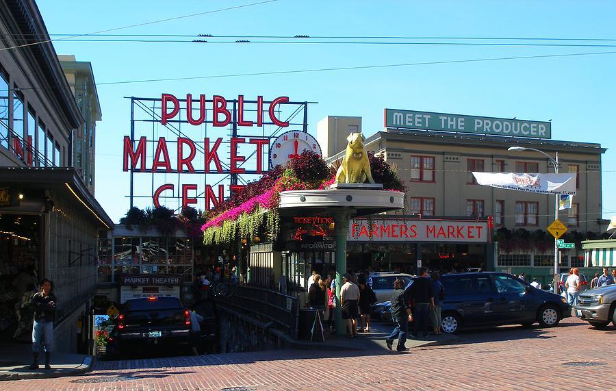 Landscape Photograph - Seattles Pike Place Market Center  by Candace Garcia