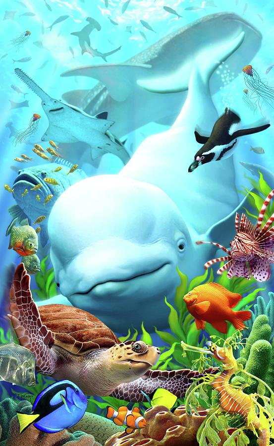 Beluga Whale Digital Art - Seavilians 2 by Jerry LoFaro