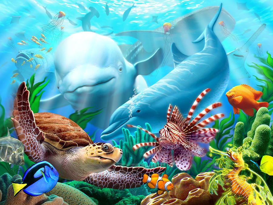 Beluga Whale Digital Art - Seavilians by Jerry LoFaro