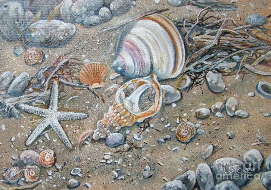 Shells Painting - Seaweed And Shells by Val Stokes