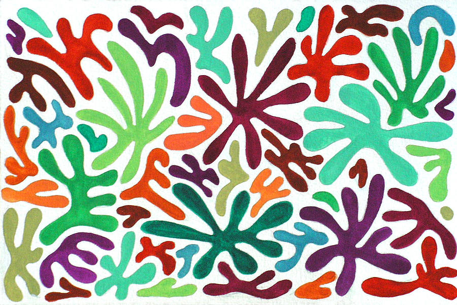 Abstract Painting - Seaweed Splash Colorful Abstract Gouache Painting Green Red Orange Brown Blue by Wendy Middlemass