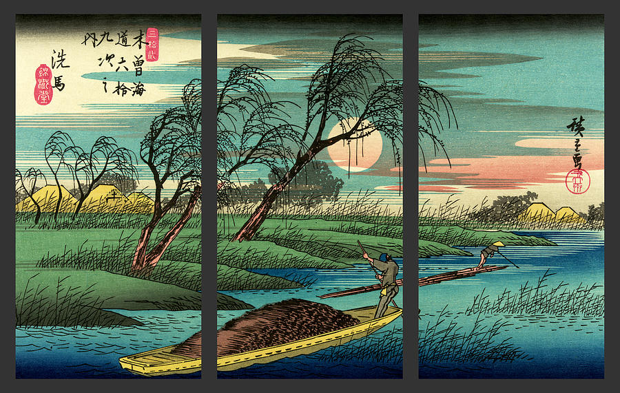 japanese drawing seba ohta river japan triptych art by just eclectic