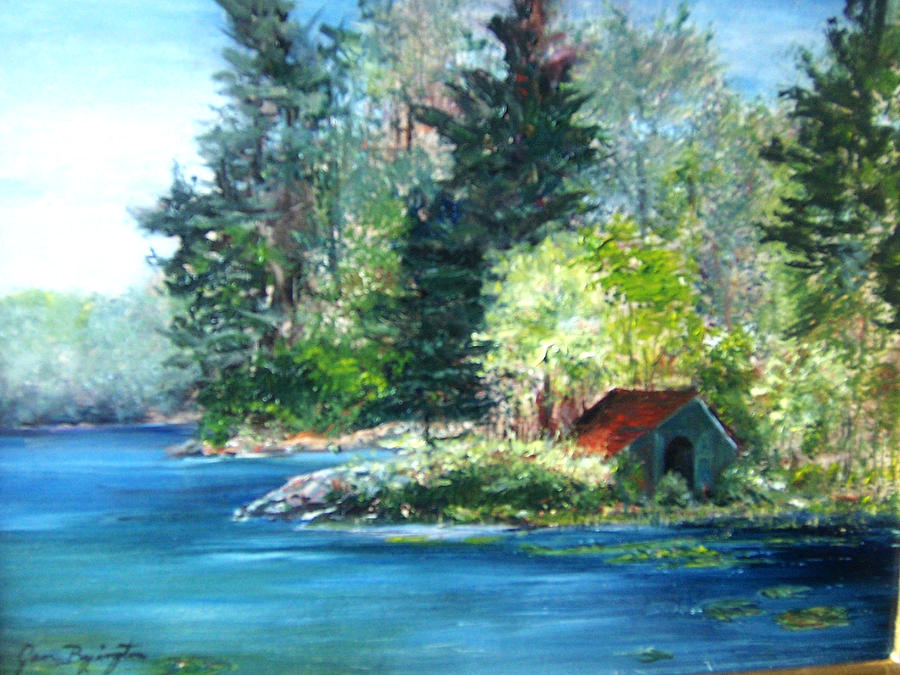 Secluded Boathouse-Millsite Lake  by Jan Byington