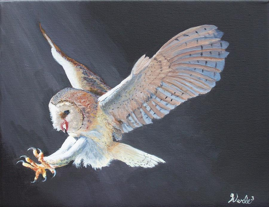 Owl Painting - Second Look by Bill Werle