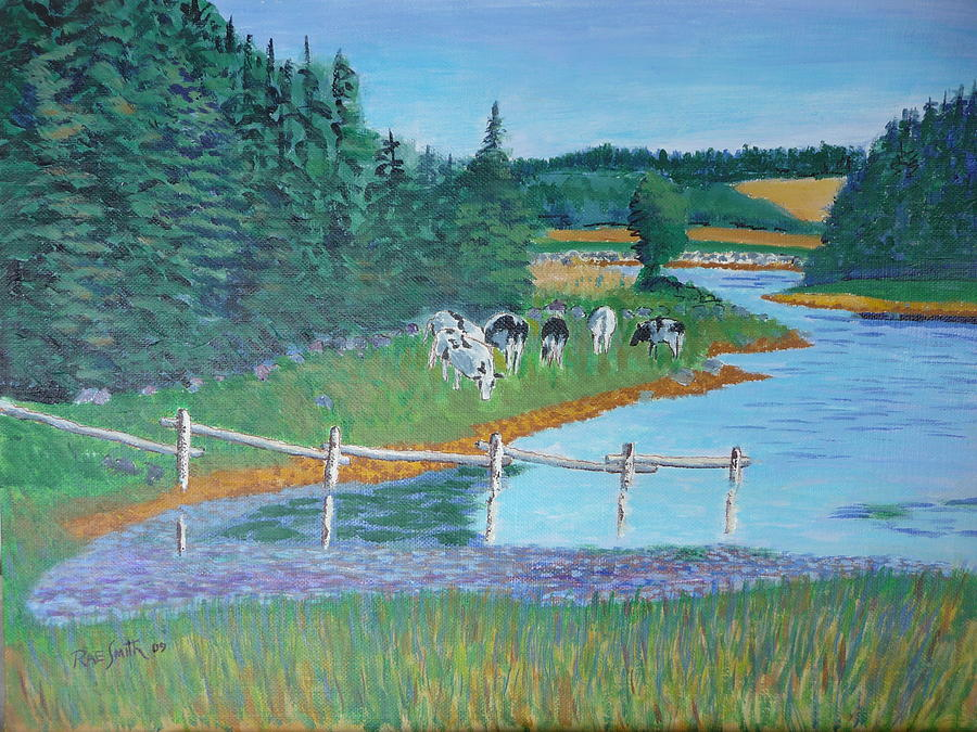 Landscape Painting - Second Peninsula Cows by Rae  Smith