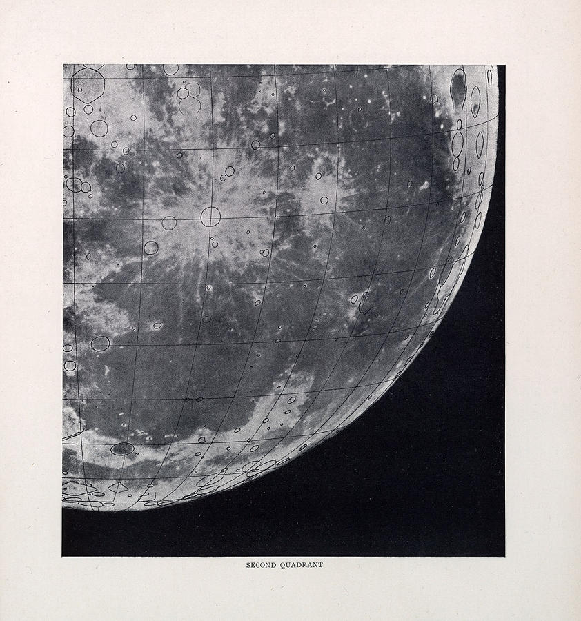 Second Quadrant - Surface Of The Moon - Lunar Surface - Selenographia - Celestial Chart Drawing