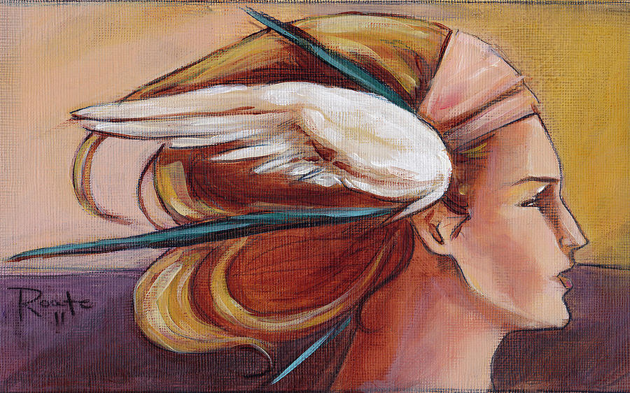 Headdress Painting - Secondary Wings Right by Jacque Hudson