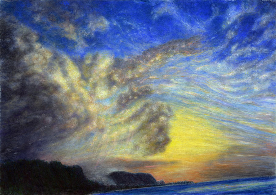Relax Pastels Painting - Secret Beach Sunset by Kenneth Grzesik