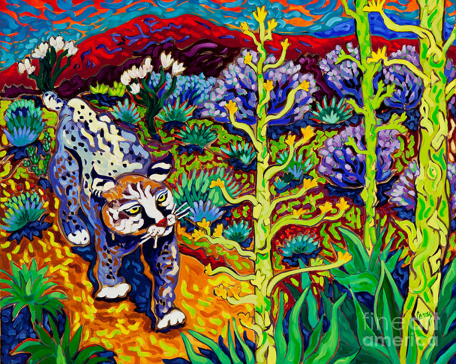 Bobcat Painting - Secret Language by Cathy Carey