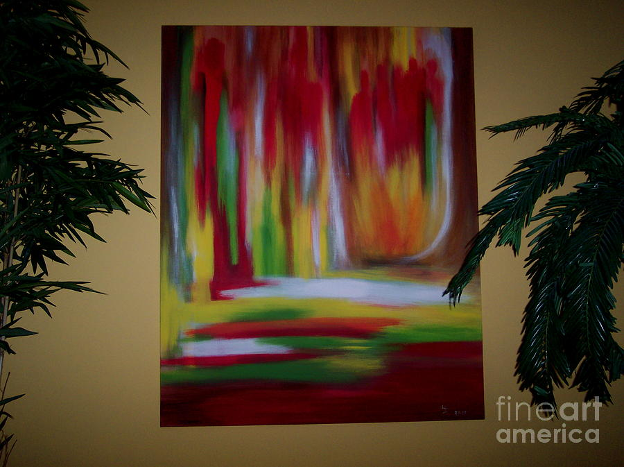 Abstract Painting - Secret Meeting by Lynda Farrow