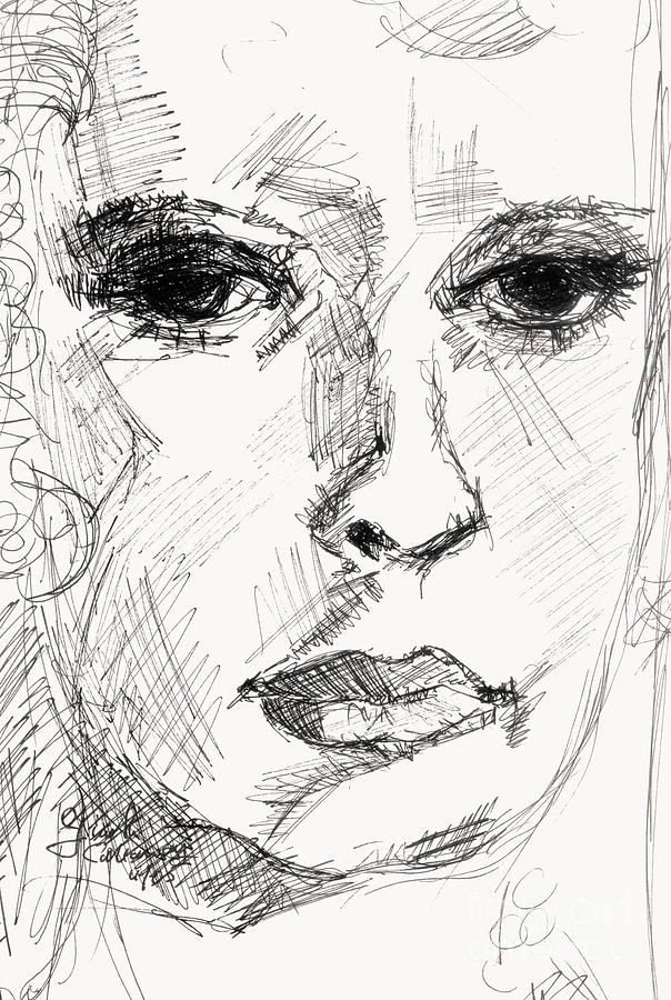 Faces Drawing - Secret Thoughts by Ginette Callaway
