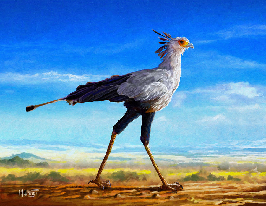 Kenya Painting - Secretary Bird by Anthony Mwangi