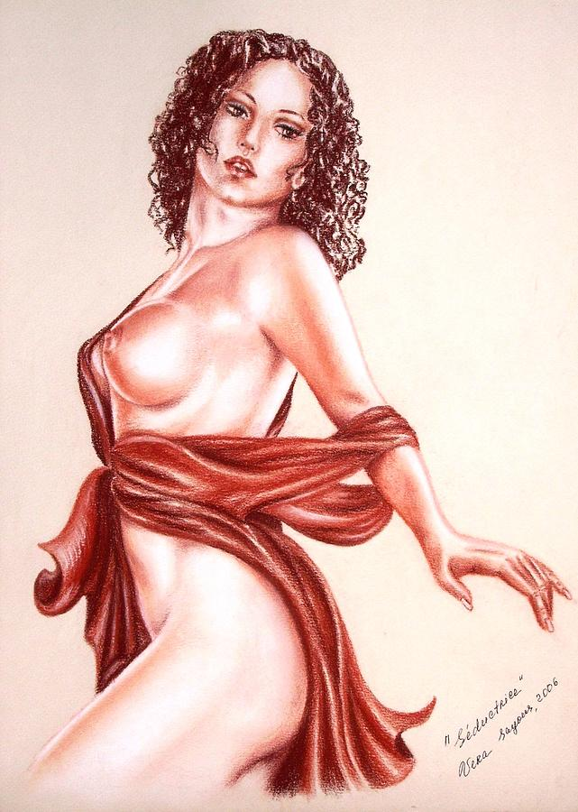 Nudes Drawing - Seductrice by Vera Sayous