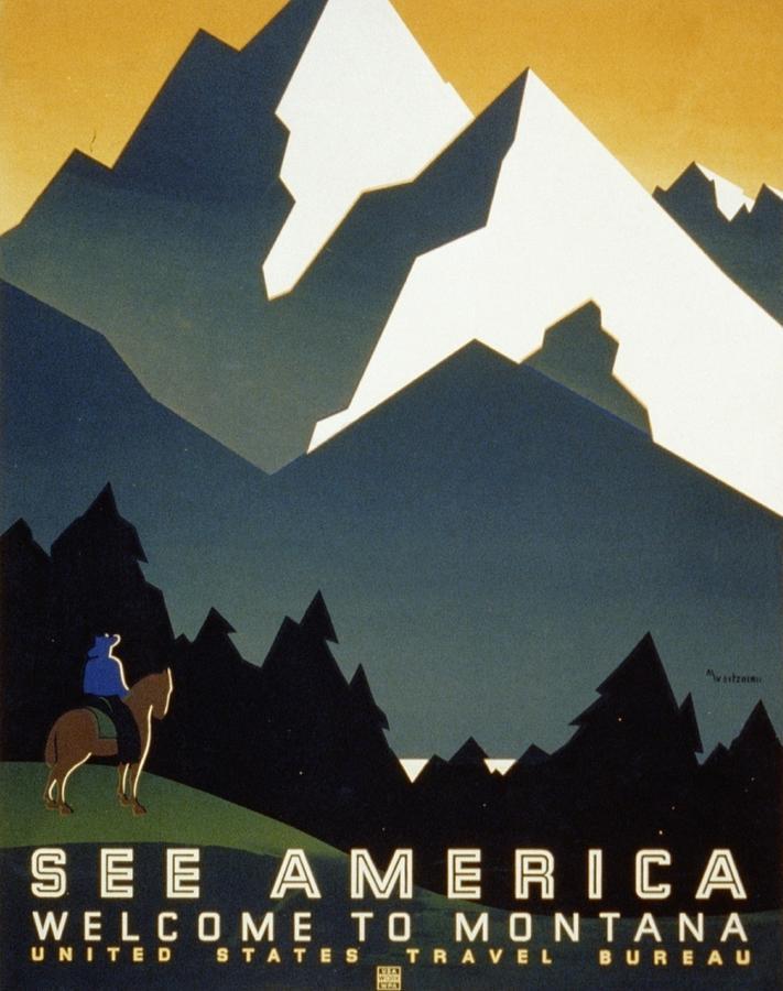 Montana Digital Art - See America Welcome To Montana by M Weitzman
