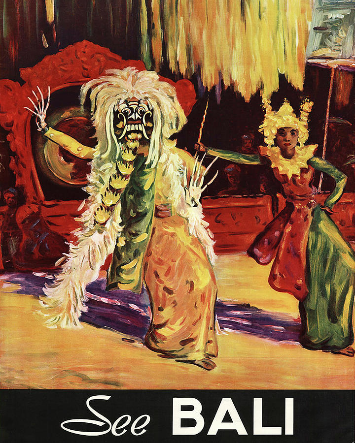 See Bali Traditional Dance Vintage Travel Poster Painting By Long