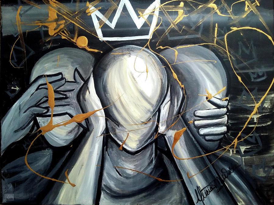 See No Evil, Hear No Evil, Speak No Evil - Kingly Behavior Painting by Alicia Walter