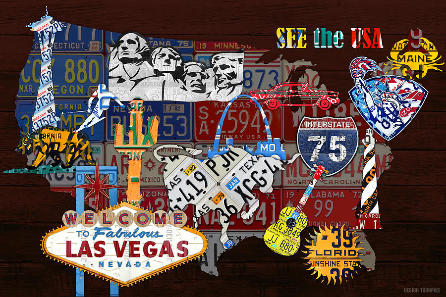 see the usa vintage travel map recycled license plate art of
