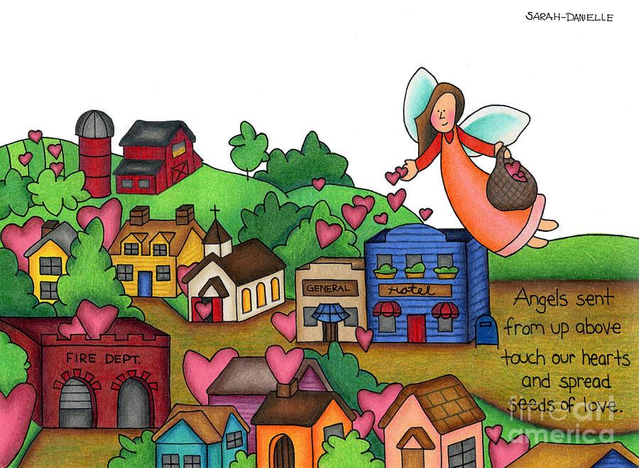 Angels Drawing - Seeds Of Love by Sarah Batalka