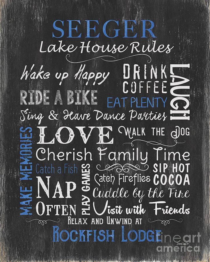 Lake Painting - Seeger Lake House Rules by Debbie DeWitt